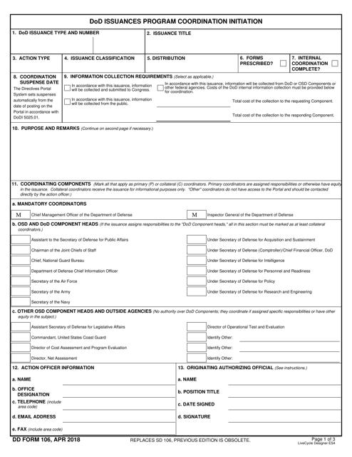 DD Form 106 Fillable Pdf