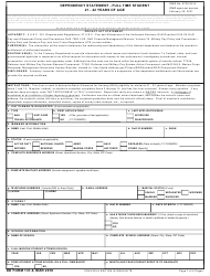 DD Form 137-6 Dependency Statement - Full Time Student 21 - 22 Years Of Age