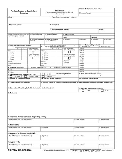DD Form 416 Printable Pdf