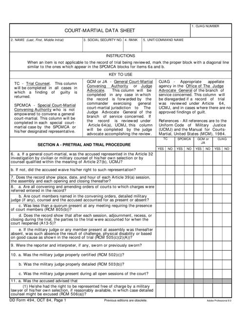 DD Form 494 Fillable Pdf