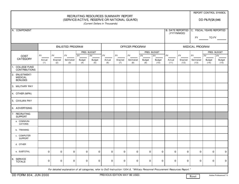 DD Form 804 Fillable Pdf