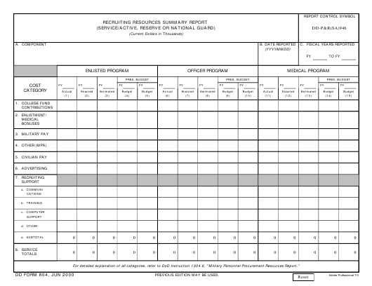 DD Form 804 Fillable Pdf