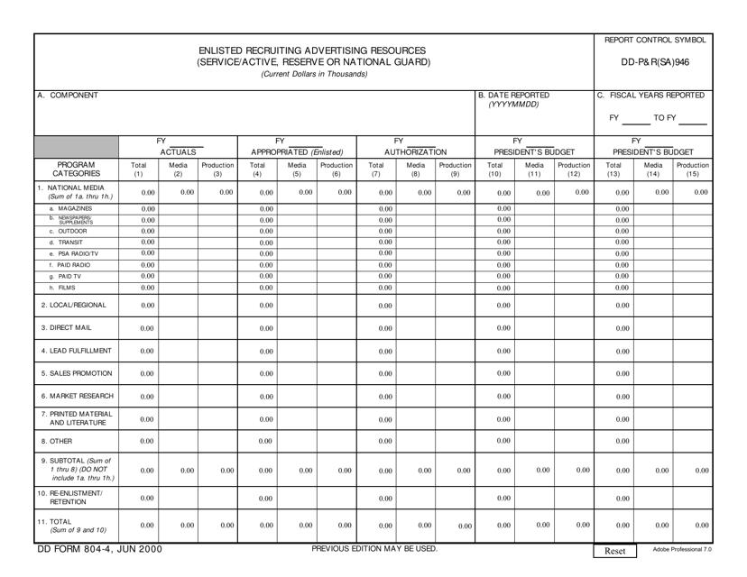 DD Form 804-4 Printable Pdf