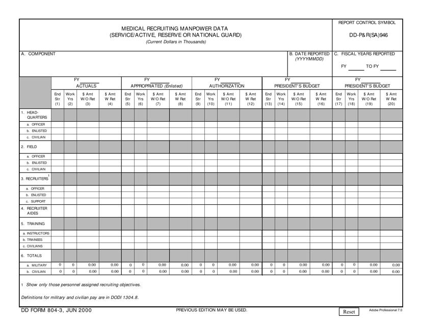 DD Form 804-3  Printable Pdf
