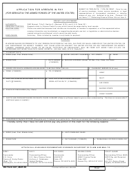 DD Form 827 Application for Arrears in Pay