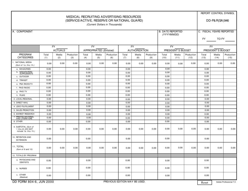 DD Form 804-6 Printable Pdf