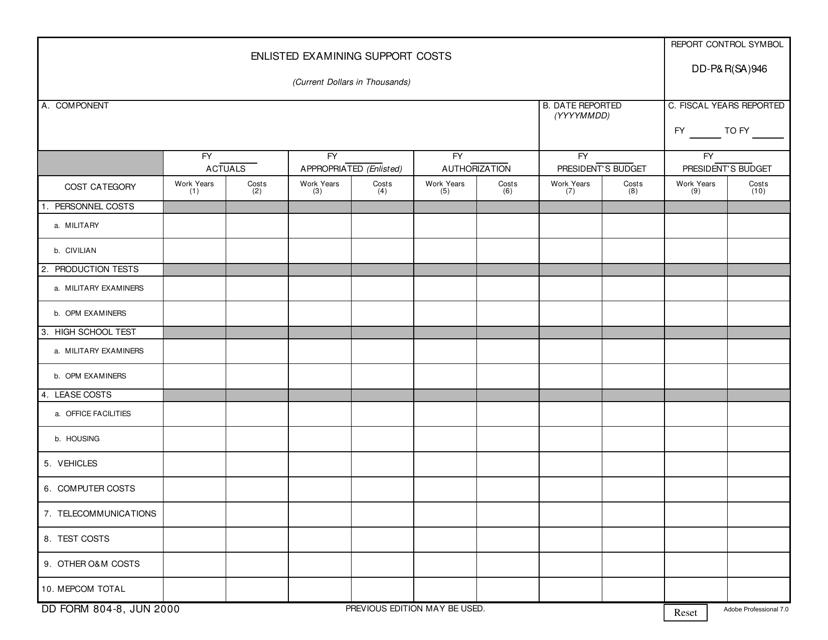 DD Form 804-8 Printable Pdf