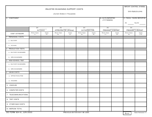 DD Form 804-8 Fillable Pdf