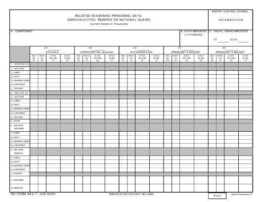 DD Form 804-7 Fillable Pdf
