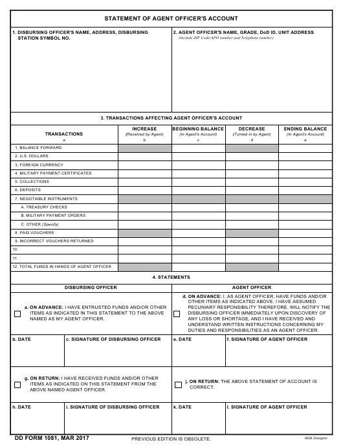 DD Form 1081 Printable Pdf