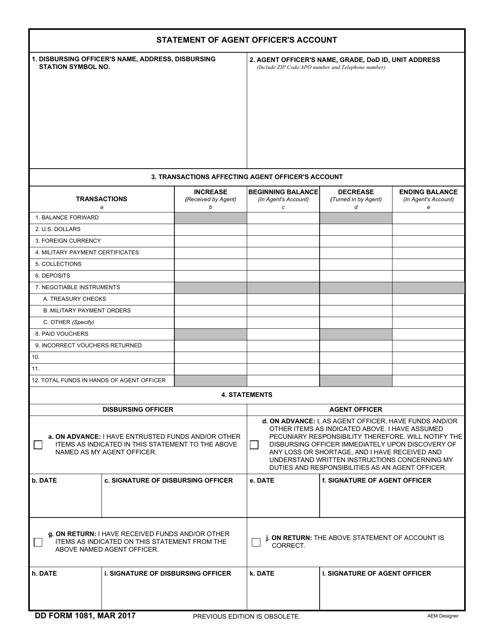 DD Form 1081 Fillable Pdf