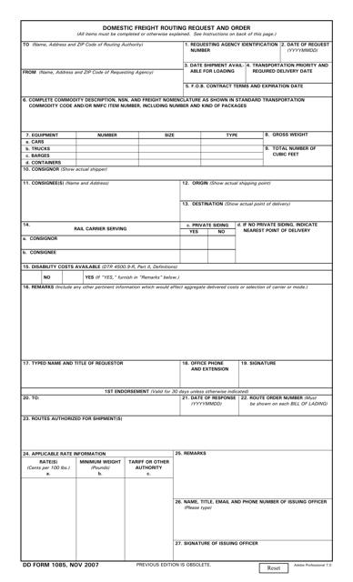 DD Form 1085 Fillable Pdf
