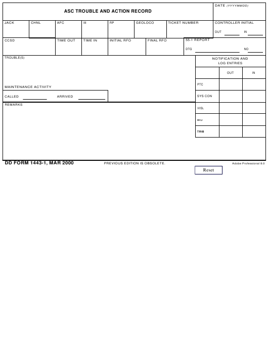 DD Form 1443-1 Fillable Pdf
