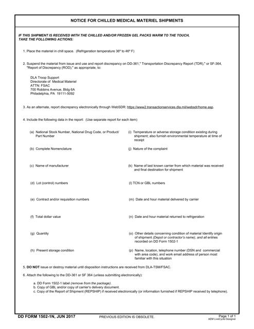 DD Form 1502-1N Printable Pdf