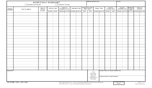 DD Form 1394 Download Fillable PDF, Mixer's Daily Worksheet