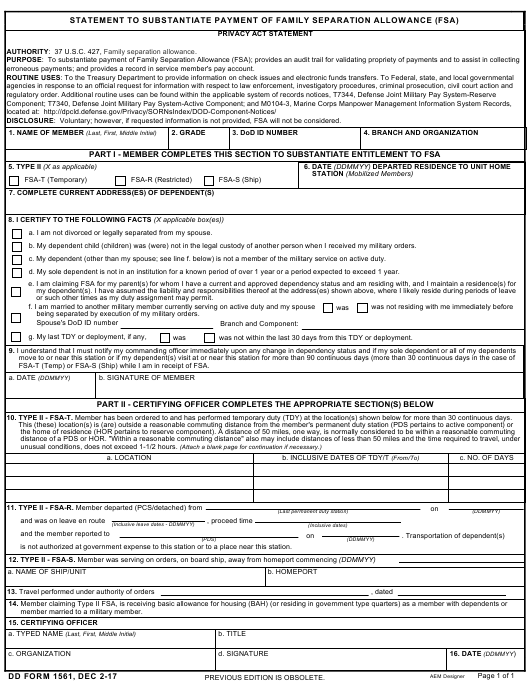 DD Form 1561 Download Printable PDF, Statement To