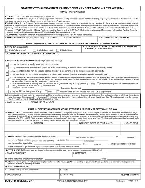 DD Form 1561  Printable Pdf