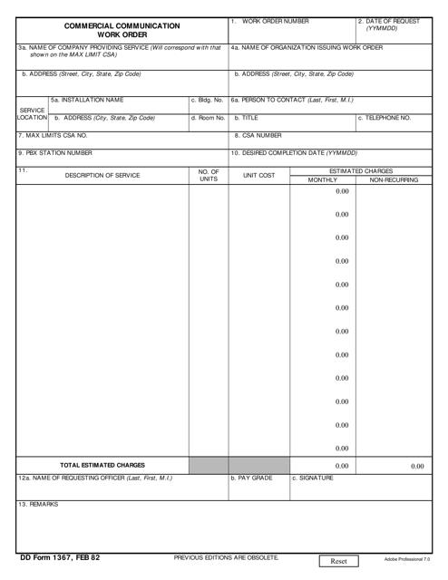 DD Form 1367 Printable Pdf