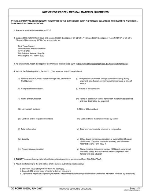 DD Form 1502N Printable Pdf