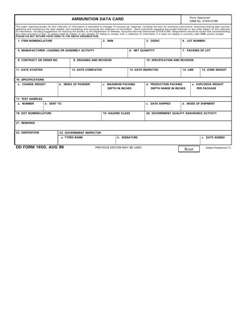 DD Form 1650 Printable Pdf