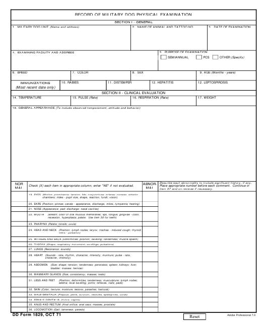 DD Form 1829 Fillable Pdf