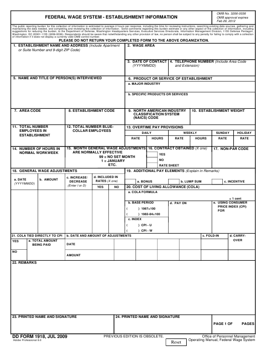 Dd Form 1918 Download Fillable Pdf Federal Wage System