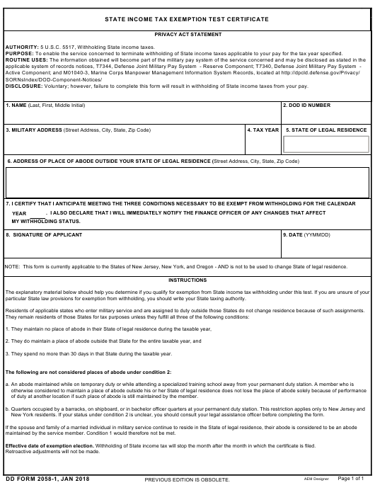 DD Form 2058-1 Download Fillable PDF, State Income Tax