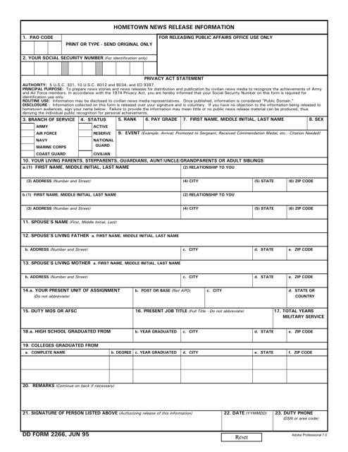 DD Form 2266 Fillable Pdf