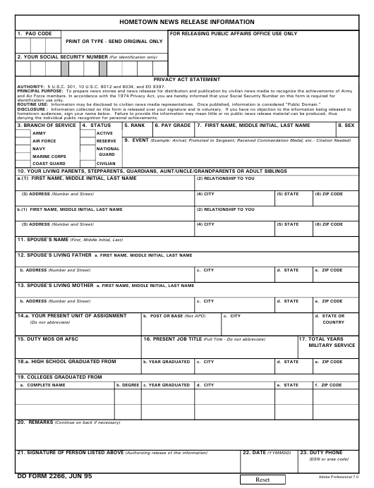 dd form 2266 download fillable pdf  hometown news release