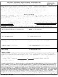 DD Form 2293 Application for Former Spouse Payments From Retired Pay