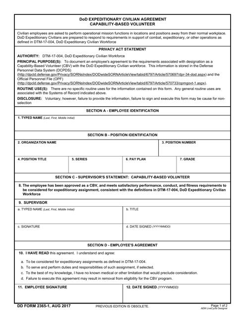 DD Form 2365-1  Printable Pdf