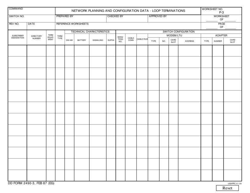DD Form 2490-3 Fillable Pdf
