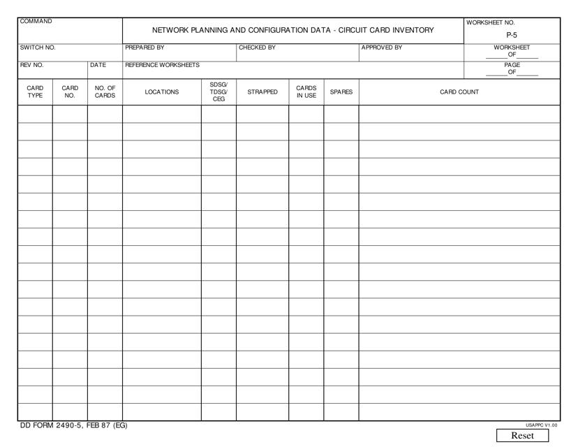 DD Form 2490-5 Fillable Pdf