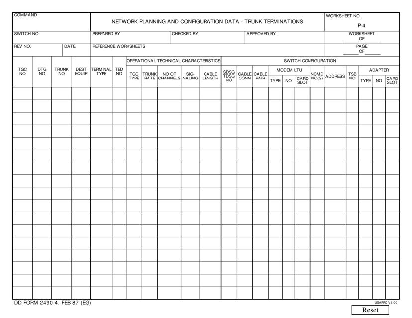 DD Form 2490-4 Printable Pdf