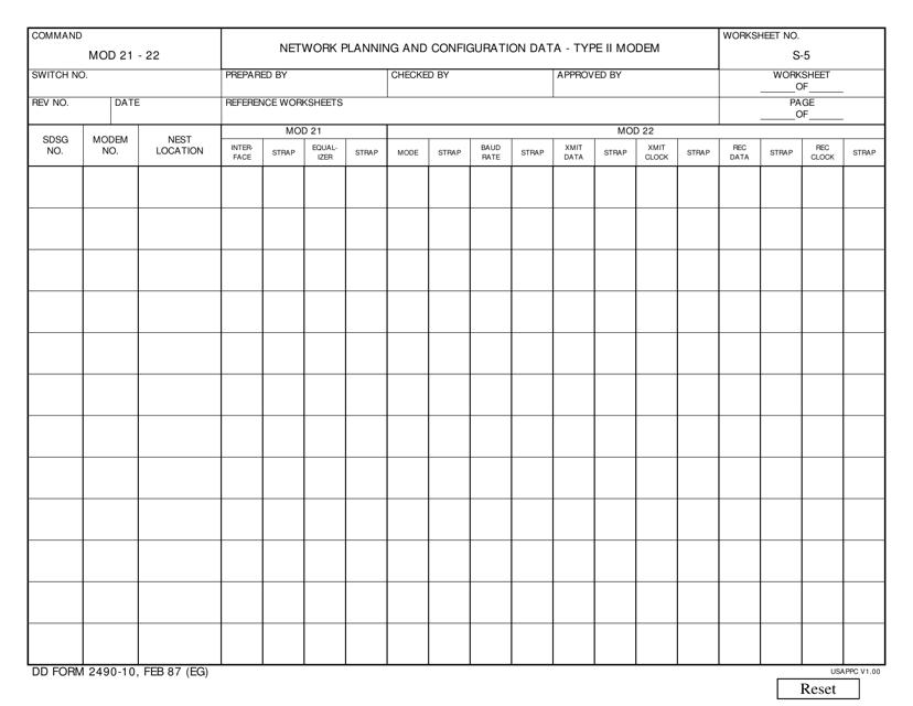 DD Form 2490-10 Printable Pdf
