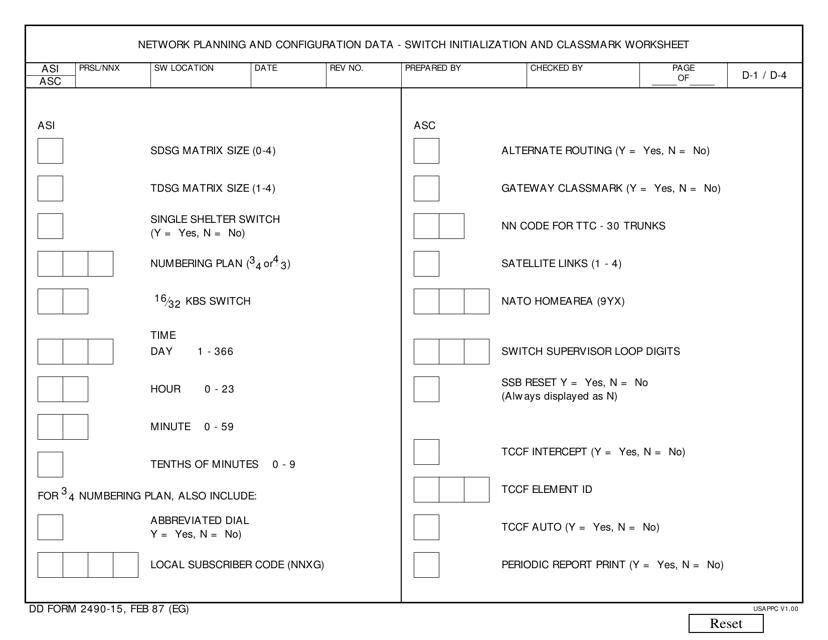 DD Form 2490-15  Printable Pdf
