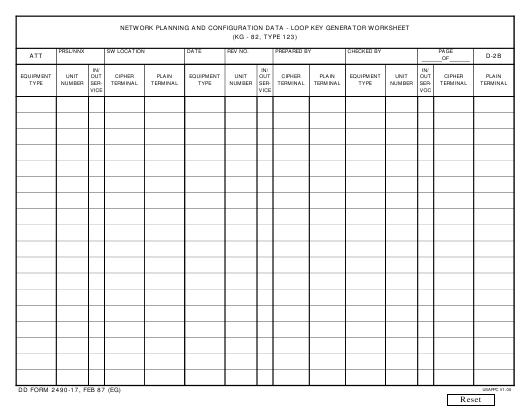 DD Form 2490-17 Download Fillable PDF, Network Planning and