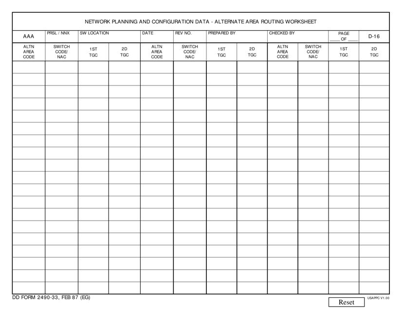 DD Form 2490-33 Fillable Pdf
