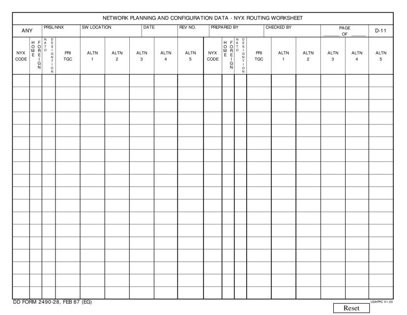 DD Form 2490-28 Printable Pdf