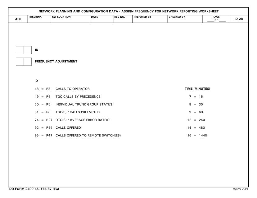 DD Form 2490-45 Printable Pdf