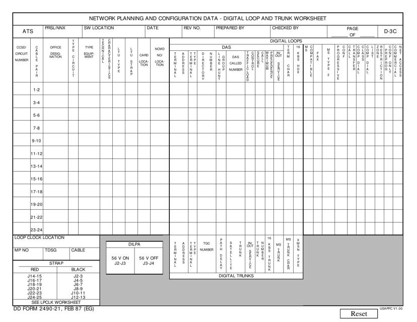 DD Form 2490-21  Printable Pdf