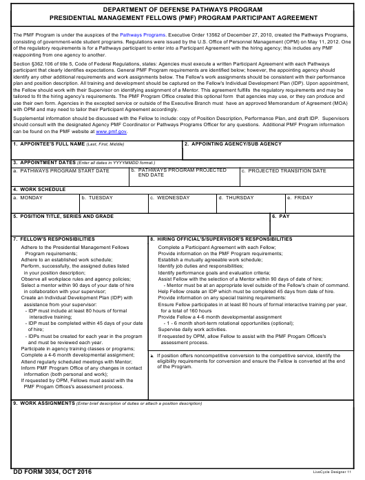 DD Form 3034 Fillable Pdf