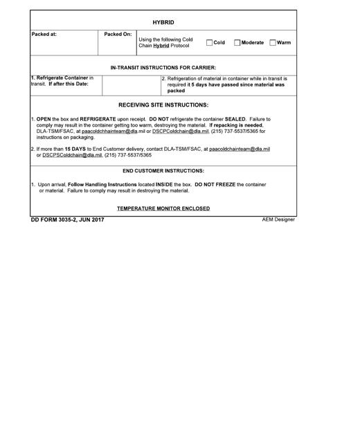 DD Form 3035-2 Printable Pdf