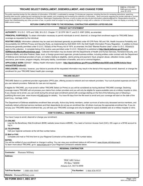 DD Form 3043-1 Fillable Pdf