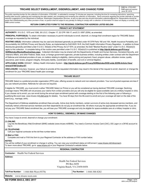 DD Form 3043-2  Printable Pdf