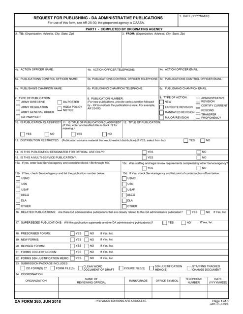 DA Form 260 Fillable Pdf