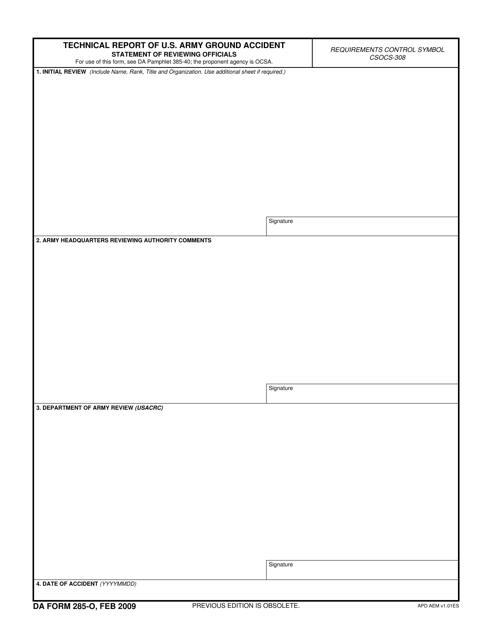DA Form 285-o  Printable Pdf