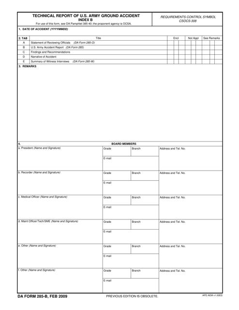 DA Form 285-b  Printable Pdf