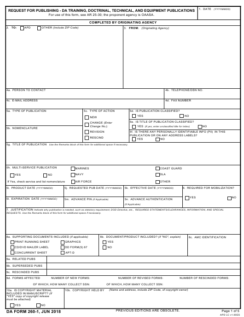 DA Form 260-1  Printable Pdf