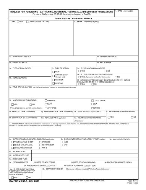 DA Form 260-1  Fillable Pdf
